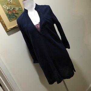 Bobi Navy Blue Crinkled Linen Tunic